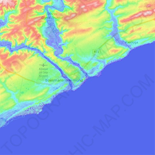 Kenton-on-Sea topographic map, relief map, elevations map
