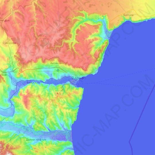 Varna topographic map, relief map, elevations map