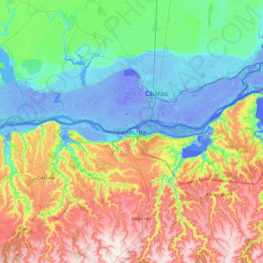 Silistra topographic map, relief map, elevations map