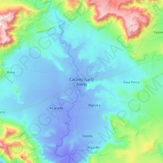 Cacadu (Lady Frere) topographic map, relief map, elevations map