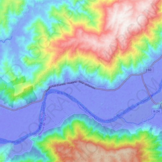 Huapi topographic map, relief map, elevations map