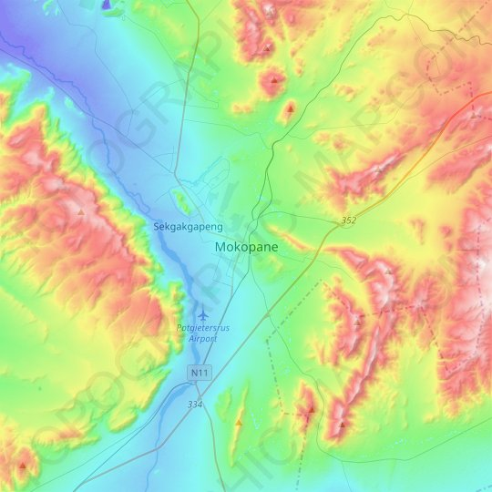 Mokopane topographic map, relief map, elevations map