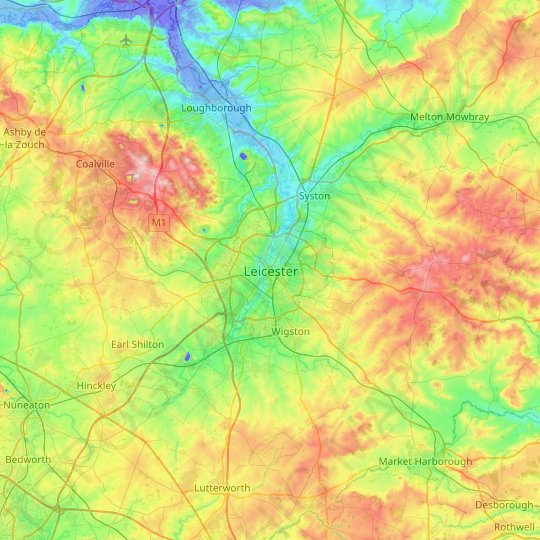 Leicester topographic map, relief map, elevations map