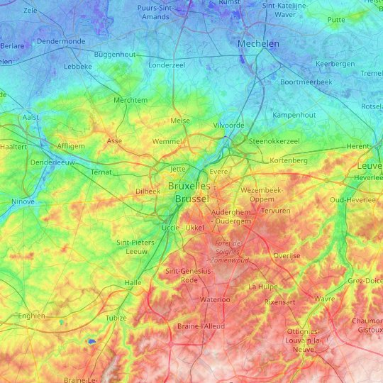 Brussels topographic map, relief map, elevations map
