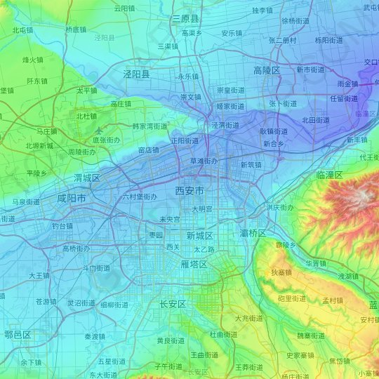 Xi'an topographic map, relief map, elevations map