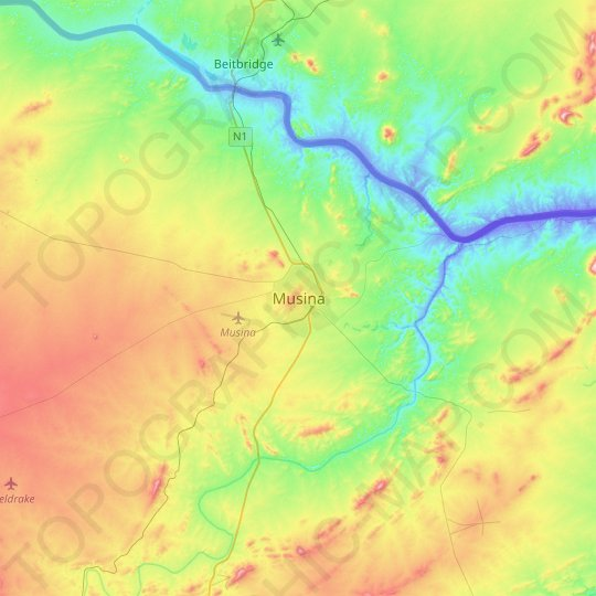 Musina topographic map, relief map, elevations map