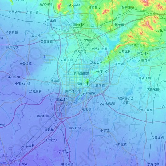 Tangshan topographic map, relief map, elevations map
