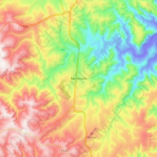 Melmoth topographic map, relief map, elevations map