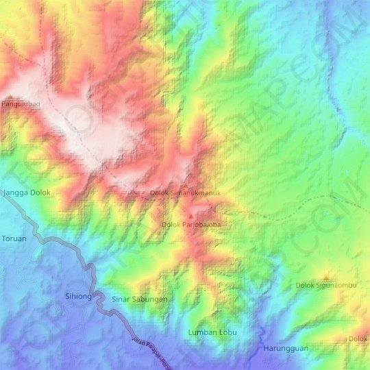 Dolok Simanukmanuk topographic map, relief, elevation