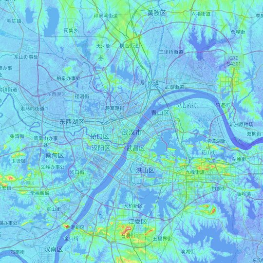 Wuhan topographic map, relief map, elevations map