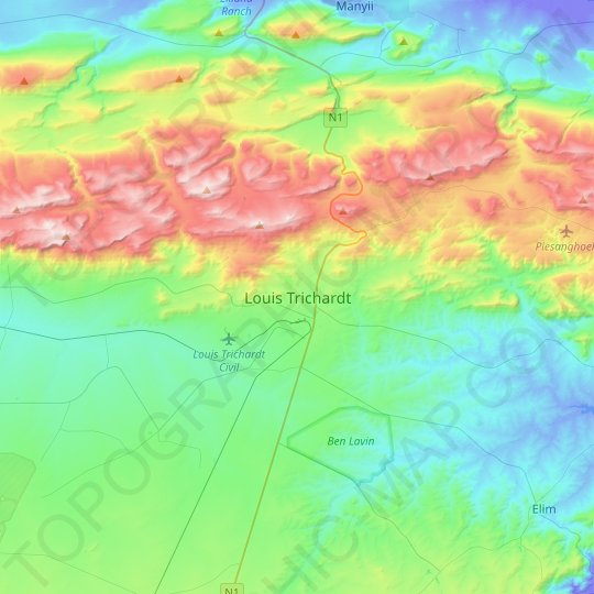 Louis Trichardt topographic map, relief map, elevations map