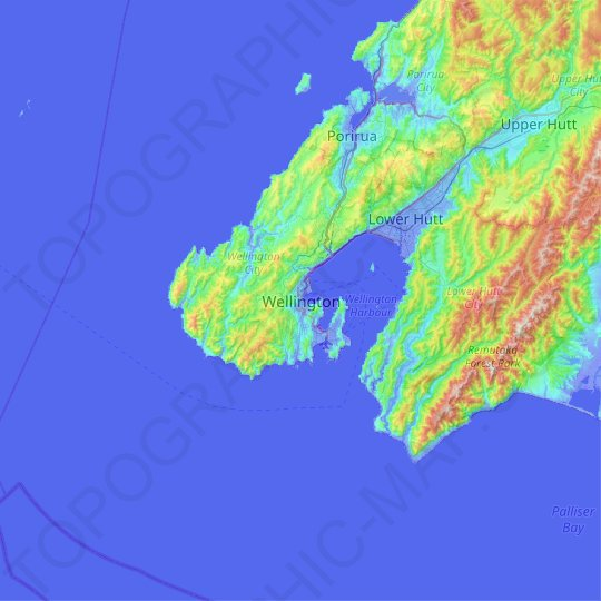 Wellington topographic map, relief map, elevations map