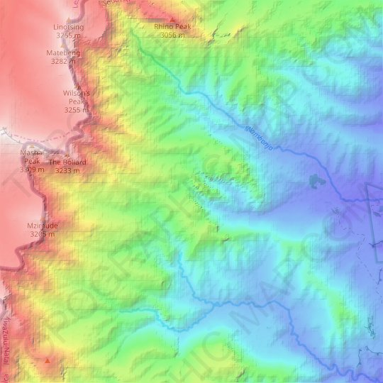 Sleeping Beauty Cave topographic map, relief, elevation