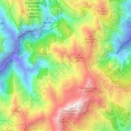 Pindus topographic map, relief map, elevations map