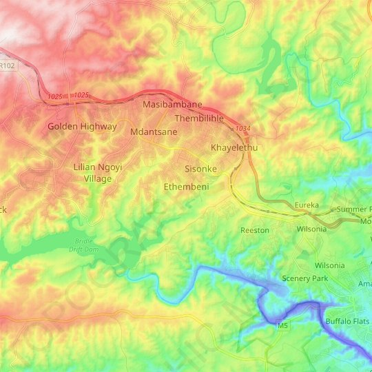 Ethembeni topographic map, relief map, elevations map
