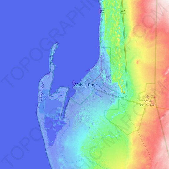 Walvis Bay topographic map, relief map, elevations map