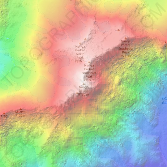 Nanga Parbat topographic map, relief map, elevations map