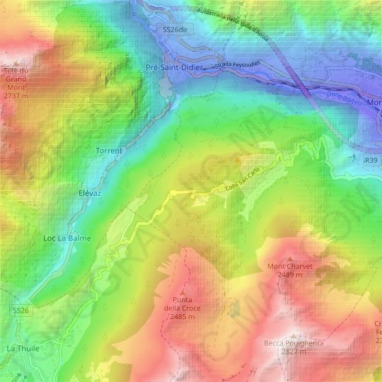 Colle San Carlo topographic map, relief map, elevations map