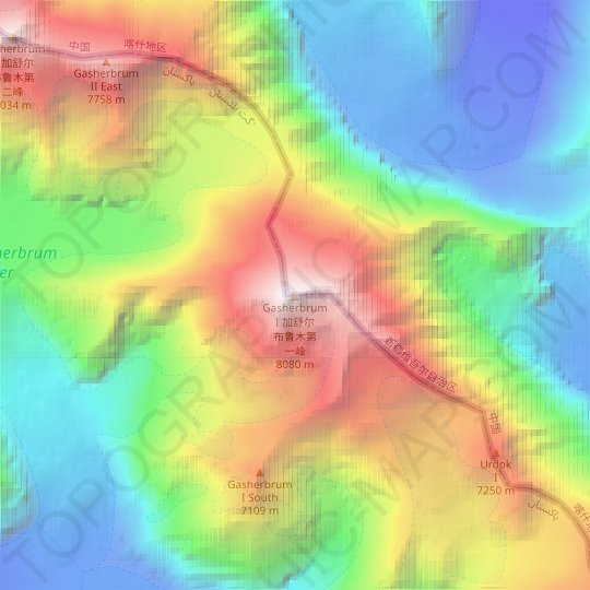 Gasherbrum I topographic map, relief map, elevations map