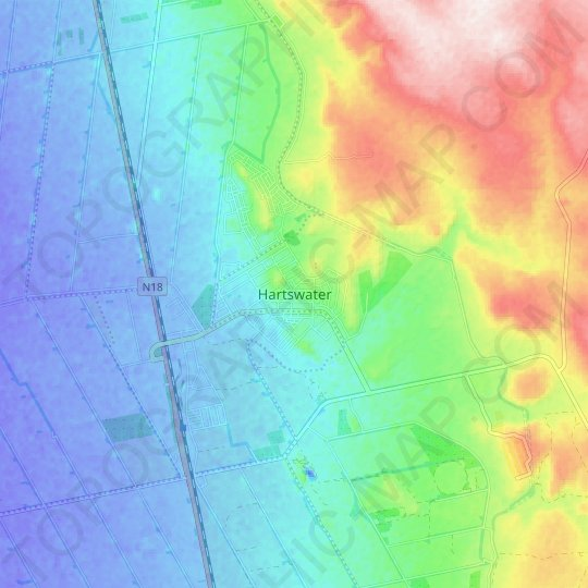 Hartswater topographic map, relief map, elevations map