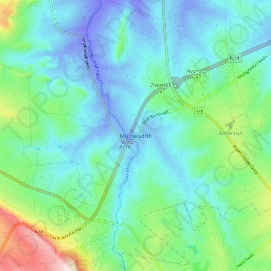 Muldersdrift topographic map, elevation, relief