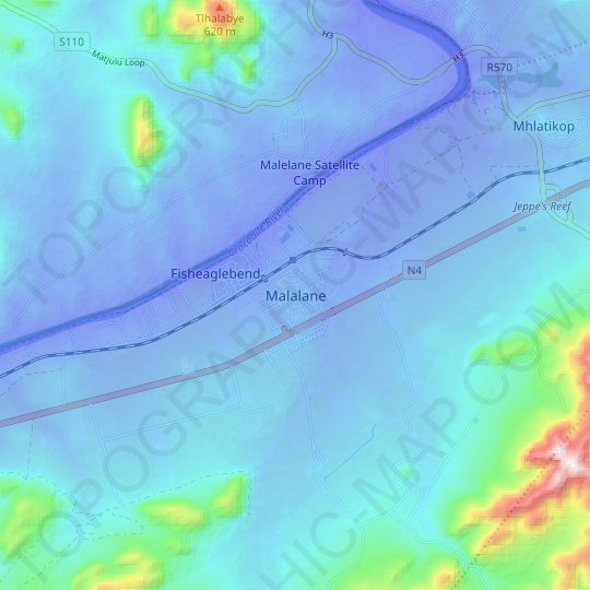 Malalane topographic map, relief map, elevations map