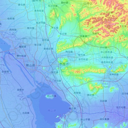 Zaozhuang topographic map, relief map, elevations map