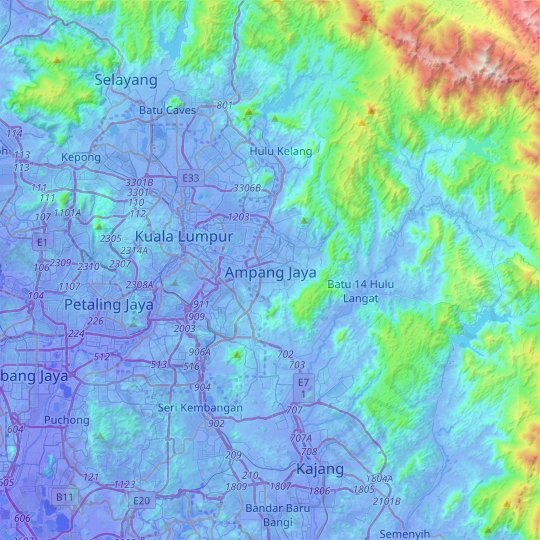 Ampang Jaya topographic map, relief map, elevations map