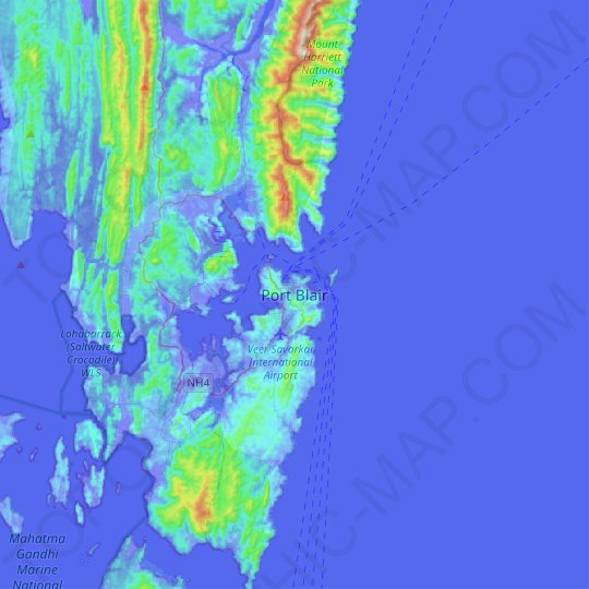 Port Blair topographic map, relief map, elevations map