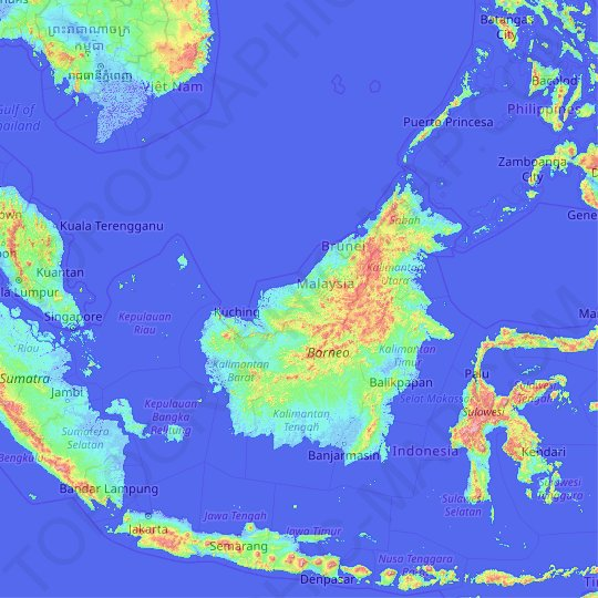 Malaysia topographic map, relief map, elevations map