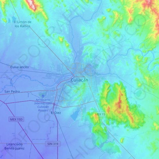 Culiacán topographic map, relief map, elevations map
