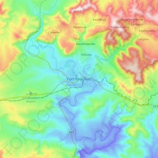 Fort Beaufort topographic map, relief map, elevations map