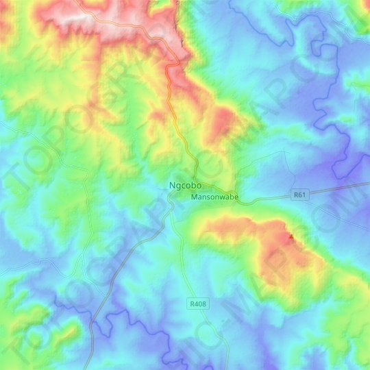 Ngcobo topographic map, relief map, elevations map