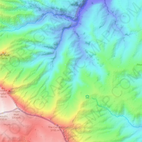 Giant's Castle Game Reserve topographic map, relief map, elevations map