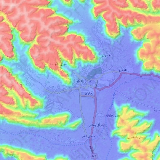 Tarim topographic map, relief map, elevations map