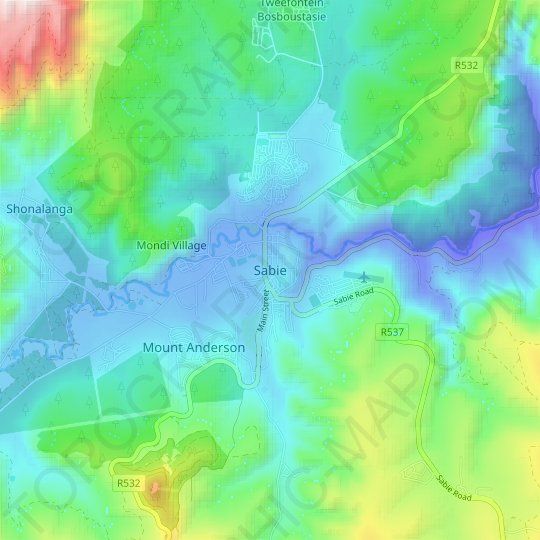 Sabie topographic map, relief map, elevations map