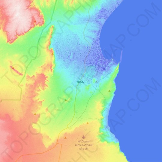 Duqm topographic map, relief map, elevations map
