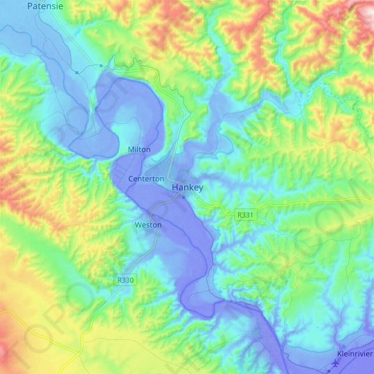 Hankey topographic map, relief map, elevations map
