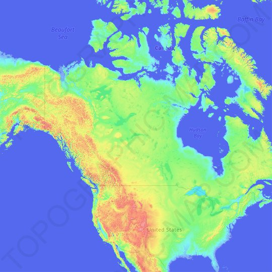 North America topographic map, relief map, elevations map