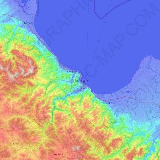 Samsun topographic map, relief map, elevations map