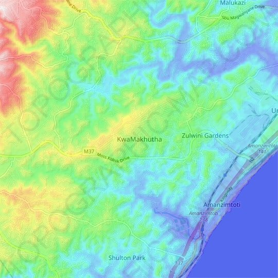 KwaMakhutha topographic map, relief map, elevations map