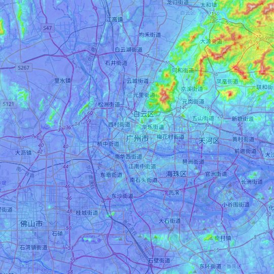 Guangzhou City topographic map, relief map, elevations map