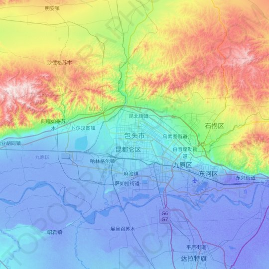 Baotou topographic map, relief map, elevations map