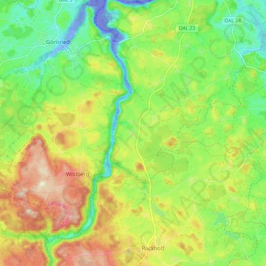 Geigers topographic map, relief map, elevations map