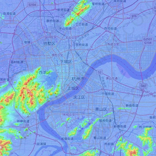 Hangzhou topographic map, relief map, elevations map
