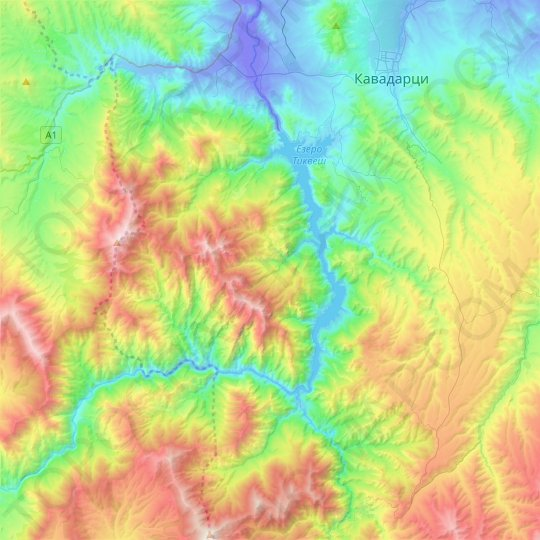 Tikvesh Lake topographic map, relief map, elevations map
