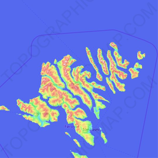 Eysturoy topographic map, elevation, relief