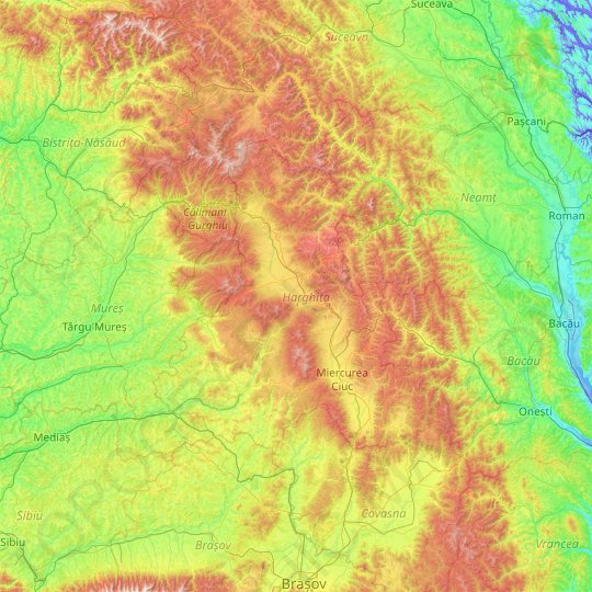 Harghita topographic map, relief map, elevations map