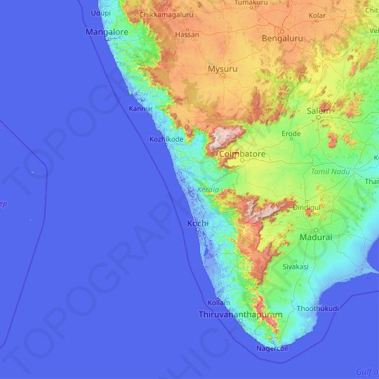 Kerala topographic map, relief map, elevations map