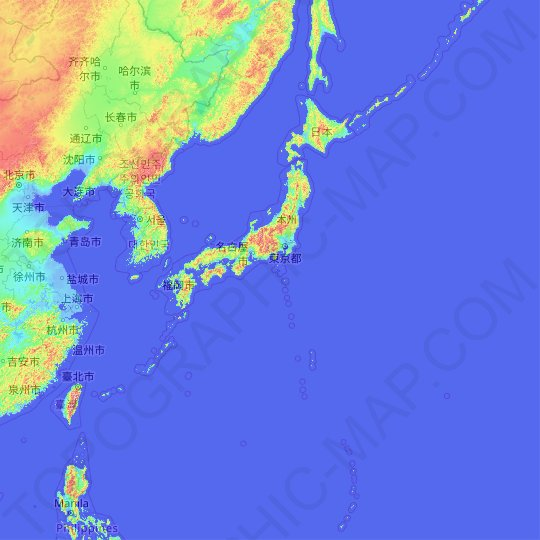 Japan topographic map, relief map, elevations map